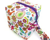 KNITTING PROJECT BAG - Sock Cube, Zippered Box Bag, Petalmania, Zippered Project Bag, Handmade, Knitting Bag, Crochet, Sock Bag, Hat Bag