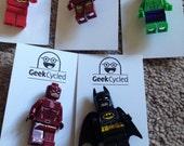 Minifigure badges - Batman, Ironman, Hulk, Daredevil and Flash