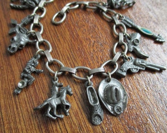 Vintage silver cowboy western southwest themed charm bracelet old style fancy chain detailed charms