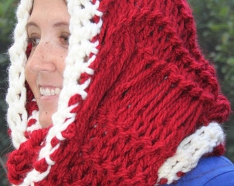 GIFT SALE SALE Hand Knit Super Bulky Red  infinity Christmas scarf in super Bulky Yarn