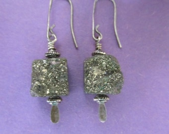Pyrite Druzy Cube Bead Silver Earrings
