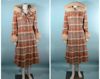 Vintage 70s Wool Plaid Princess Coat + Hood & Shearling Fur, Penny Lane Boho  Mod Preppy Bohemian Winter Coat, School Girl Maxi Coat M