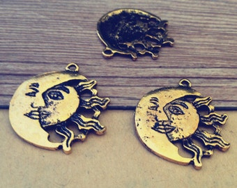 12pcs Antique gold sun With moon pendant charm 27mm