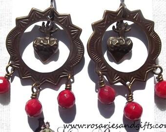 Catholic Sacred Heart Earrings Faux Vintage Antique