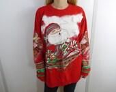 Vintage Baggy Santa Claus Reindeer and Sleigh Christmas Sweatshirt Sweater