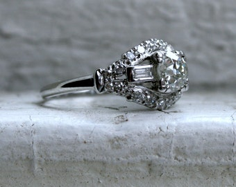 Gorgeous Vintage Platinum Diamond Engagement Ring.