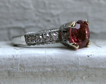 Classic Vintage Pink Tourmaline and 14K White Gold Engagement Ring - 3.26ct