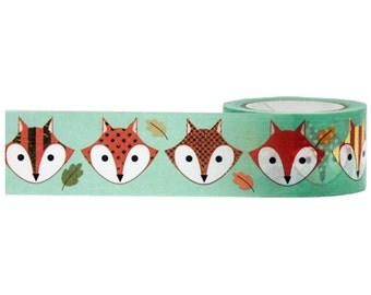 Gold Foil Fox Head Washi Tape, 25mm Wide with Cutter by Little B