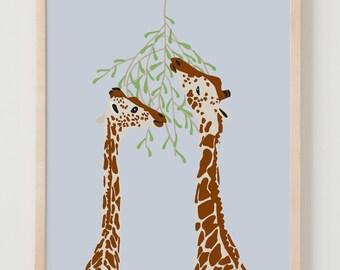 Fine Art Print. Giraffes Eating. January 16, 2013.