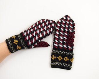 Hand Knitted Mittens - Black, Red and White, Size Medium