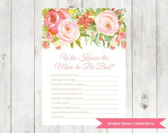 Floral Baby Shower Know the Mom Game | Modern Baby Shower Game | Watercolor Baby Sprinkle Printable