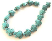 "Turquouise Howlite Carved Sea Turtle Beads, 13x17mm - 15"" Strand"
