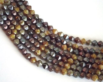 30 Brown, Copper, Tan, Beige Mix Czech Glass Bicone shaped beads measuring 4x6mm