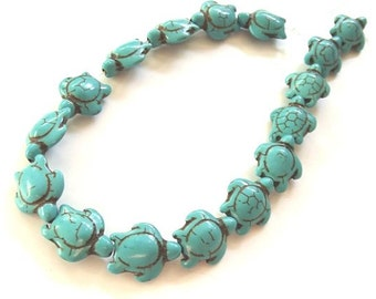 """Turquouise Howlite Carved Sea Turtle Beads, 13x17mm - 15"""" Strand"""