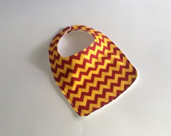 Yellow and Red Chevron bibs,  Terry cloth backed baby bib, Harry Potter Baby bib, Maroon and yellow chevron baby bib, Absorbent baby bibs