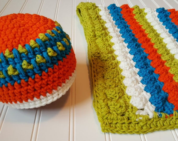 Crochet Baby Blanket Pattern, Popcorn stitch baby blanket, Baby Blanket & baby hat Pattern- 3 hat sizes, Newborn photo prop blanket and hat