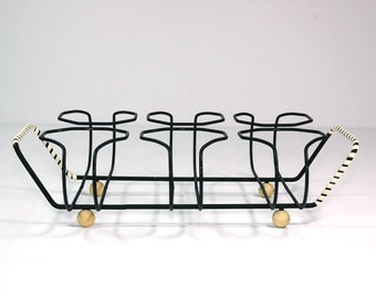 Vintage Glass Wire Tray Carrier Mid Century