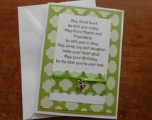 Birthday Irish Blessing Greeting Card with real four shamrock charm