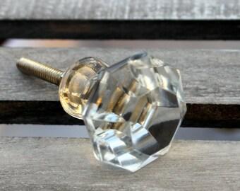 Glass Knob Clear Cabinet Knob Dresser Knob Rustic Vintage Modern