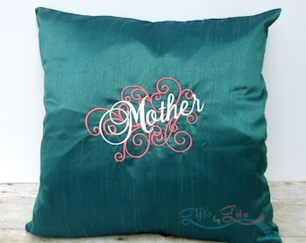 Gift for mom, blue  teal embroidered pillow, swirly Mother design, home decor, throw pillow, pillow cover, pillow case