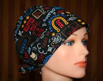 Tie Back Surgical Scrub Hat/Chemo Hat--Outlaw