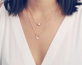 ON SALE Delicate simple everyday layered double chain CZ diamond & lucky horseshoe necklace