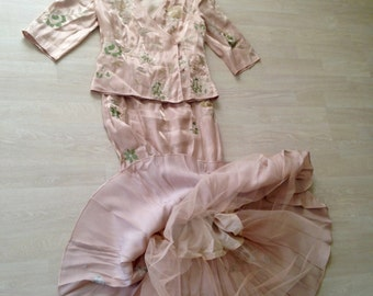 Pastel Minuet petite Satin vintage skirt and jacket 2 piece set peach oriental inspired light salmon pink embroidered
