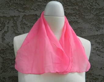 Hot Pink Head Scarf / Vintage Scarf / Pink Rectangular Skinny Hair Scarf