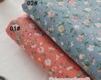 Shabby Chic Fabric Froal Flower Cotton Fabric Blue Orange - 1/2 yard QT767