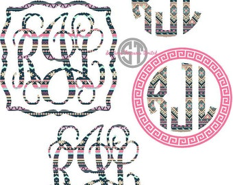 Navy, Pink an Coral patterns printed HEAT TRANSFER monogram or DECAL available in 10 patterns.