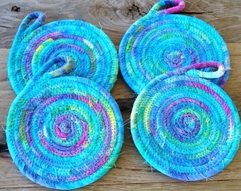 Handmade Coil coasters, rainbow colors, fabric coasters, rainbow gift. batik fabric  mug rugs