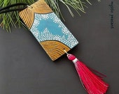 Moroccan Style Wood Tassel Ornament - Ebony Gold Teal Red Tassel Decoration - Bohemian Decor - Hand Painted Ornament