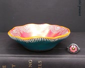 Moroccan Lace Ring Bowl - Bohemian Decor - Gypsy Ring Bowl - Orange Bronzed Pink Laguna Blue - Handmade Polymer Ring Bowl