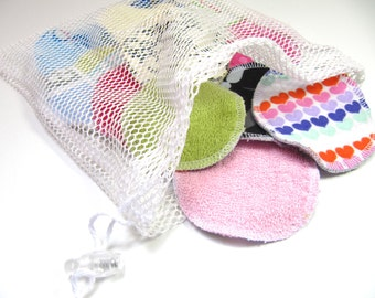 LARGE Terry-Flannel Reusable Facial Rounds, Cosmetic Rounds With Terry Cloth Backing, Makeup Remover Pads, Set of 10 or 20