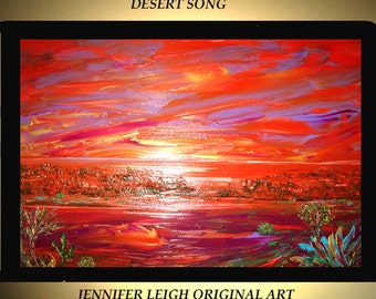 Original Large Abstract Painting Modern Acrylic Painting Oil Painting Canvas Art DESERT SONG Orange Brown 36x24 Textured Wall Art  J.LEIGH