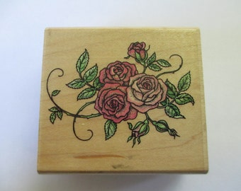 """Rubber Stamp """"Rose bouquet"""" stamp For cards and scrapbooking  Used stamp"""