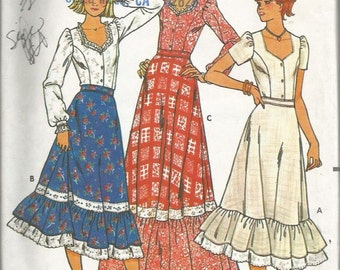 Vtg Pattern Butterick 6086 Misses' Peasant Blouse & Skirt Size 5/6 Uncut