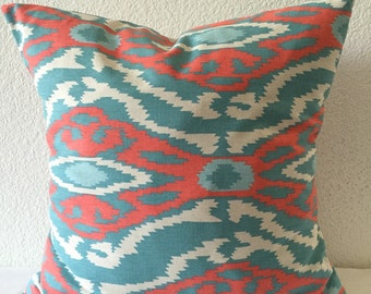 SALE** Coral, Aqua, White Southwest Pattern Home Decor Fabric-Single Pillow Cover 18x18 inch-Throw Pillow-Accent Pillow-Cushion Cover
