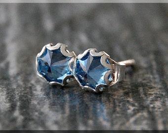 Blue Zircon Earrings. Sterling Silver December Post Earrings, Birthstone Earrings, Handmade silver post earrings, Blue Zircon Stud earrings