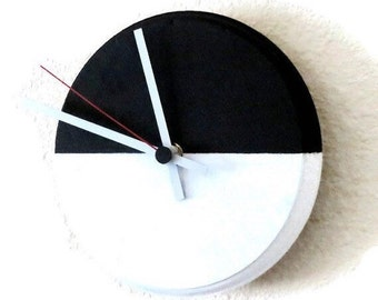 Small Wall Clock, Black and White Clock, Home and Living, Home Decor, Minimalism, Housewares, Unique Gift