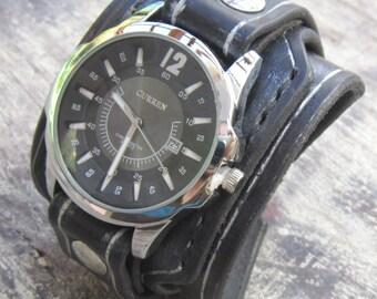Black Leather Watch Cuff, Men's watch, Leather Wrist Watch