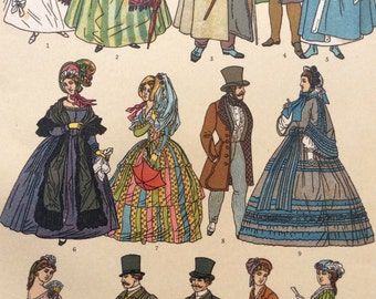 Antique French Chromolithograph 1890 Victorian Top Hat COSTUME FASHION Bookplate