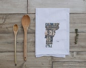 Vermont Home Tea Towel | Vintage License Plate Art | Vermont State Outline Art | Kitchen Decor