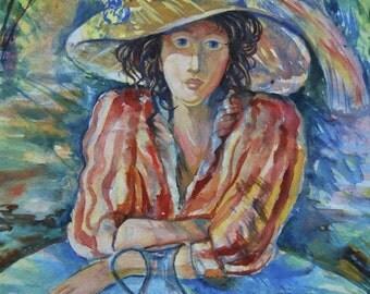 """original watercolor painting size 30x42 cm """"Klementina"""""""