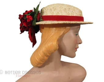 Vintage Straw Hat With Red Velvet Flowers Tilt Boater