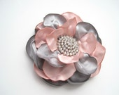 Hair Clip Grey and Pink Satin Wedding Flower Hair Clip  Bride, Bridesmaid, Mother of  Bride Prom with Rhinestone Accent