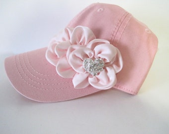 Youth Toddler Pink Baseball Cap with Pink Chiffon Flowers Across Front Baby Hats Youth Baseball Caps Girls Accessories
