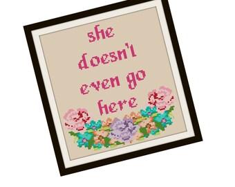 Mean Girls Cross Stitch Pattern - Funny Cross Stitch PDF - Floral Cross Stitch