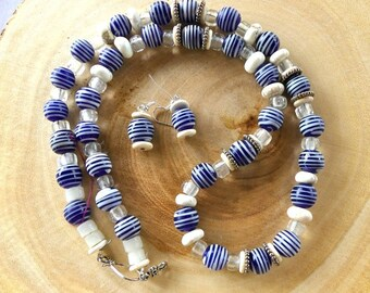 29 Inch Chunky Ethnic Bohemian Blue and White Indonesian Glass Bead Necklace with Earrings