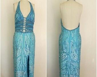 Vintage 1970s-1980s Turquoise Blue Sequin Beaded Halter Dress